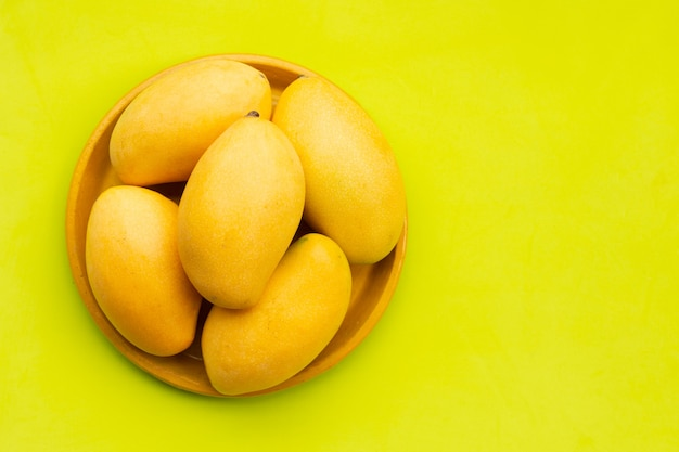Tropical fruit, mango in yellow plate on green background.