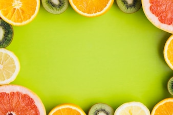 Tropical fruits background with copyspace