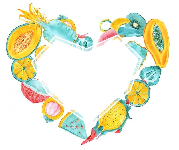Tropical fruits heart shape frame. trendy summer color exotic fruits border. dragon fruit, pitaya, mangosteen, carambola, banana, starfruit, papaya, avocado. mint, yellow, red, pink card print