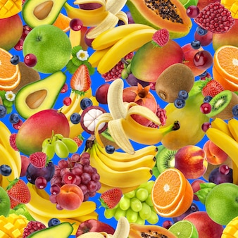 Tropical fruits seamless pattern, falling exotic fruits isolated on blue background