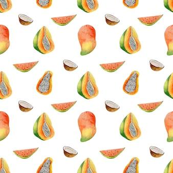 Акварельные иллюстрации тропических фруктов дракон манго папайя бесшовные модели на белом
