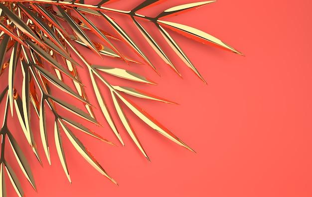 Рендеринг тропических золотых глянцевых пальмовых листьев
