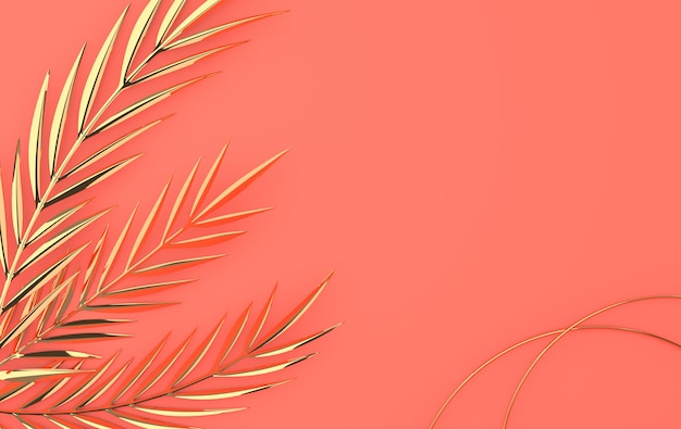 Tropical golden glossy palm leaves summer tropical metal leaf