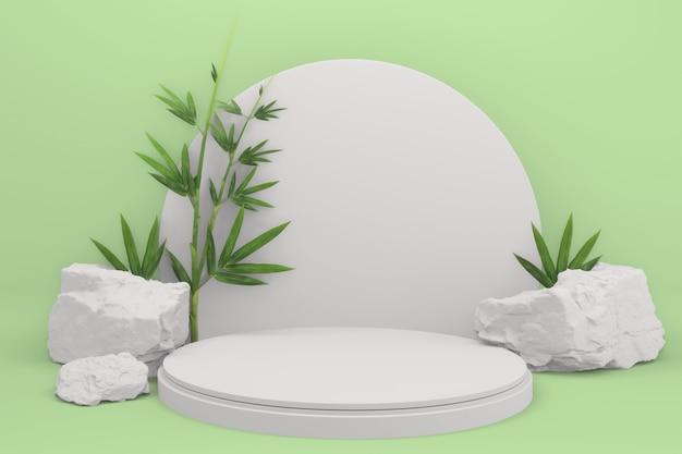 Тропический зеленый дизайн подиум с минимальными геометрическими элементами и бамбуковым японским декором. 3d-рендеринг