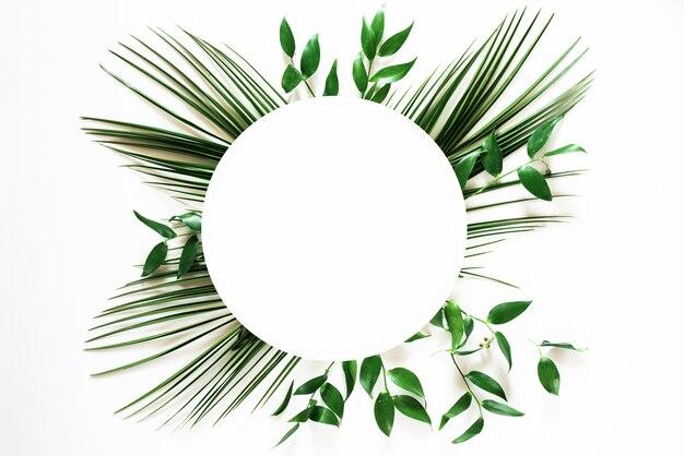 화이트에 열 대 녹색 잎 프레임