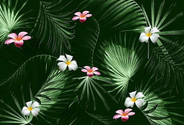 Tropical green palm leaf tree and flower background
