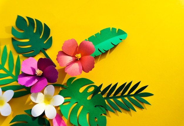 Tropical handcrafted papercraft nature petals