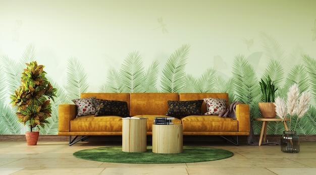 거실의 열대 인테리어 디자인