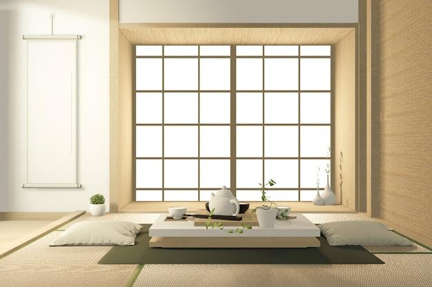 거실 일본식 소파 열 대 인테리어 디자인. 3d 렌더링