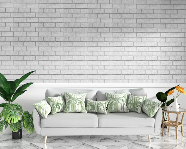 Tropical interior mock up with sofa and decoration and brick wall on granite floor