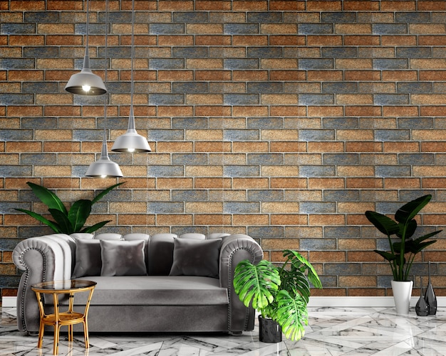 Tropical interior mock up with sofa decoration and brick wall on granite floor