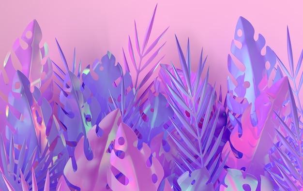 熱帯の虹色のヤシの葉のフレーム