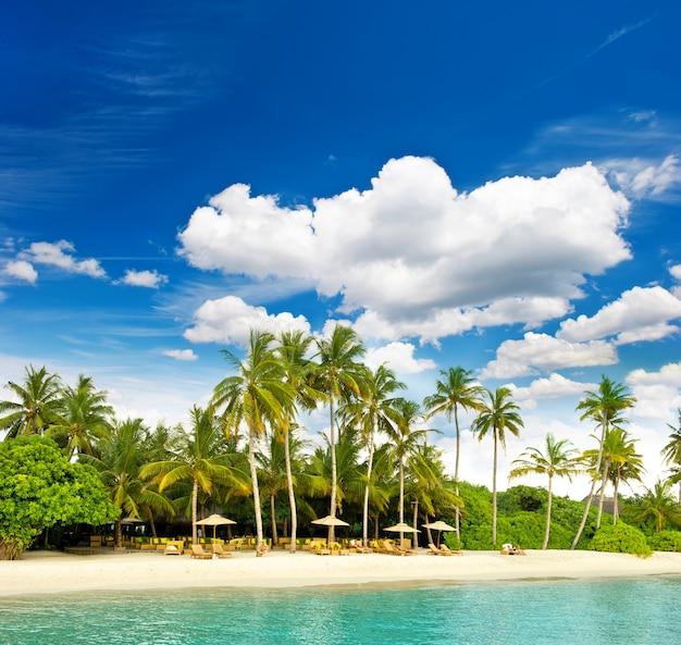 完璧な青い空と熱帯の島のビーチ