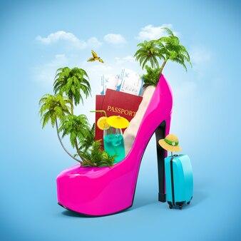 여자 신발에 열대 섬 특이한 여행 그림