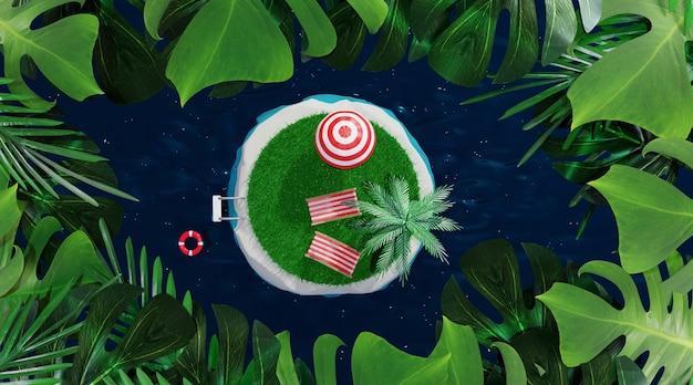 열대 섬. 여행 및 휴가 개념, 3d 렌더링