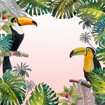 Tropical jungle of monstera leaves and toucan birds