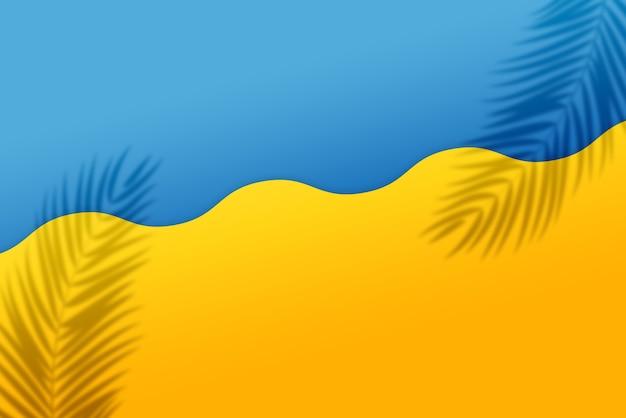 물결 모양의 절반 노란색과 절반 파란색 배경에 열 대 잎 그림자