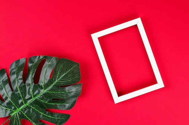 Tropical leaf and white frame