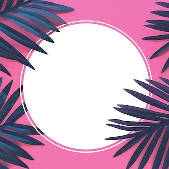 Тропические листья листвы растения заделывают с цветной копией космического фона. природа и летние концепции идеи. для дизайна украшения