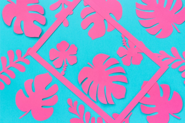 Tropical leaves pattern. trendy pink tropical leaves of paper and frame on blue background