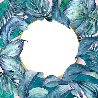 Tropical leaves with circle frame