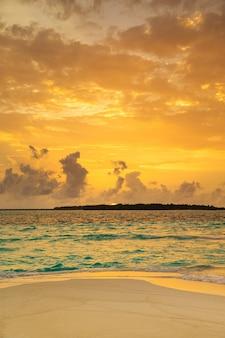 Tropical maldives island with beautiful sandy beach and sea