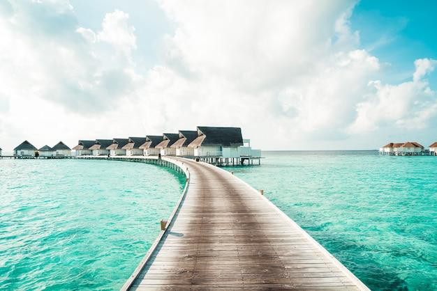 トロピカルモルディブリゾートホテルとホリデー休暇のコンセプトのためのビーチと海のある島-色処理スタイルを後押し