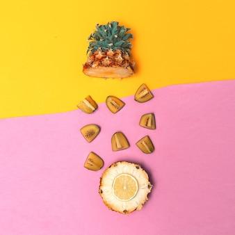 트로피컬 믹스. 파인애플과 키위. 과일 컨셉 아트