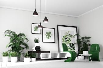 Tropical modern living room interior. 3D rendering