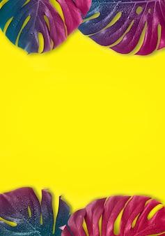 熱帯の色とりどりのグラデーションモンスターの葉。最小限のシュルレアリスム。