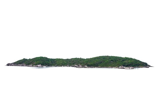 熱帯の自然の島、丘、白い背景で隔離の山