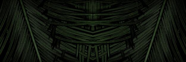 Текстура тропических пальмовых листьев, темно-зеленая листва, природа фон, панорамное изображение