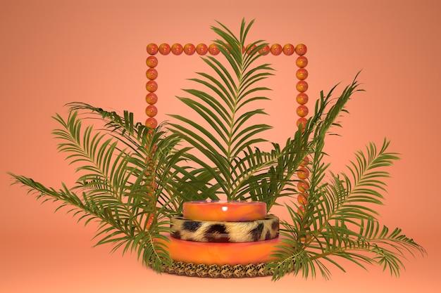 열대 야자 잎과 창의적인 프레임, 제품 발표를위한 표범 무늬 연단. 여름 밝은 스타일.