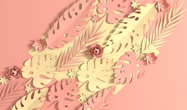 Тропические бумажные пальмовые листья и цветы