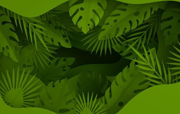 열대 종이 야자수 잎 프레임 여름 열대 녹색 잎과 종이 구멍 레이어