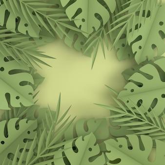 Рамка из тропических бумажных пальмовых листьев. летний тропический зеленый лист.