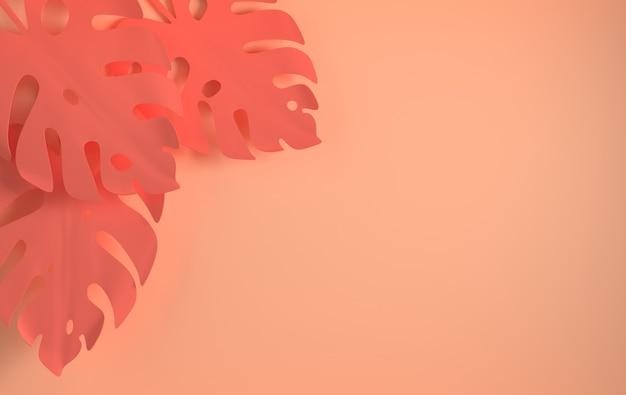 열대 종이 야자수 잎 프레임 여름 열대 잎
