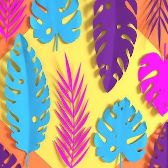 Рендеринг тропических бумажных пальмовых листьев