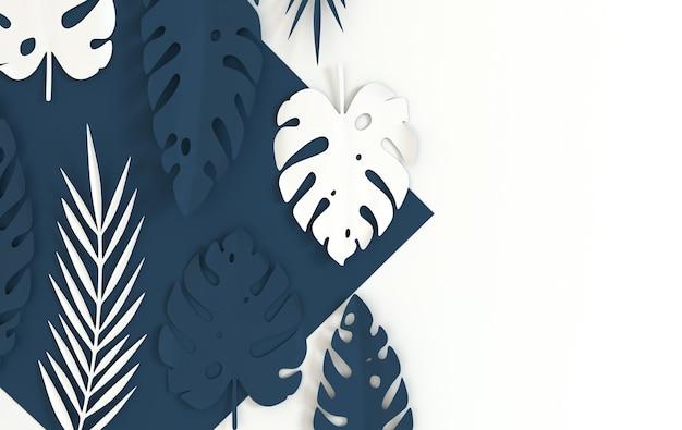 열대 종이 야자수 잎 여름 열대 파스텔 색 잎