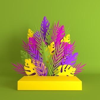 トロピカルペーパーパームモンステラの葉と花が製品プレゼンテーションのための表彰台を構成