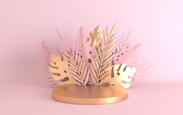 トロピカルペーパーパームモンステラの葉と花は、製品のプレゼンテーションのための表彰台のプラットフォームをフレームします
