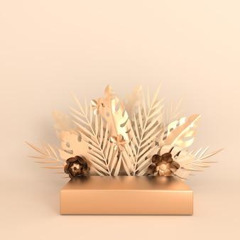 トロピカルペーパーパームモンステラの葉と花が製品プレゼンテーションのための表彰台プラットフォームをフレーム