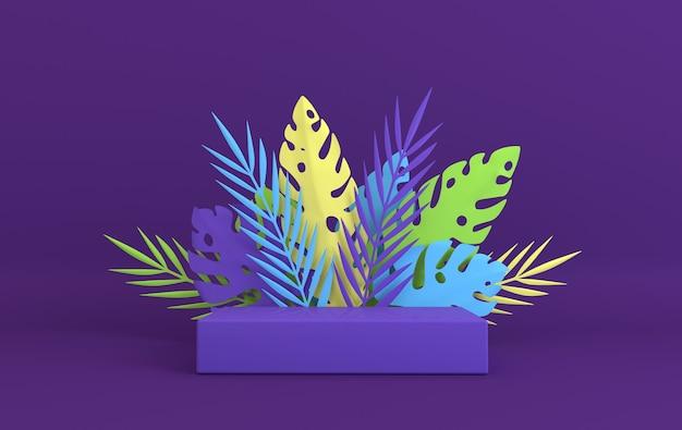 제품 발표를 위한 열대 종이 야자 몬스테라 잎 프레임 연단 플랫폼 여름 열대 l
