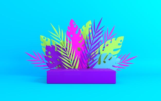 제품 프레젠테이션을 위한 열대 종이 야자 몬스테라 잎 프레임 연단 플랫폼