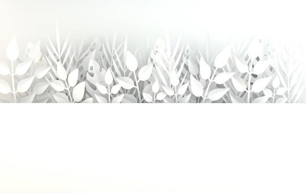열대 종이 야자 몬스테라 잎 프레임 여름 열대 잎 종이 접기 이국적인 하와이 정글 여름