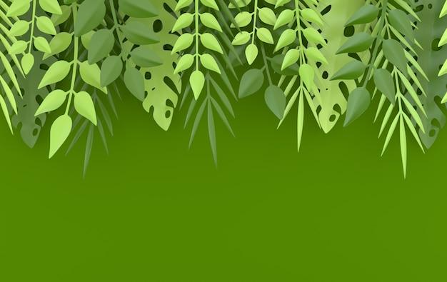 Тропическая бумажная пальма, рамка из листьев монстеры
