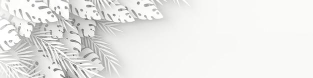 Рамка из тропических бумажных пальмовых листьев монстера
