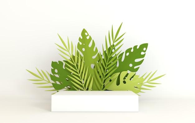 Тропические бумажные пальмовые листья монстеры, подиум для презентации продукта