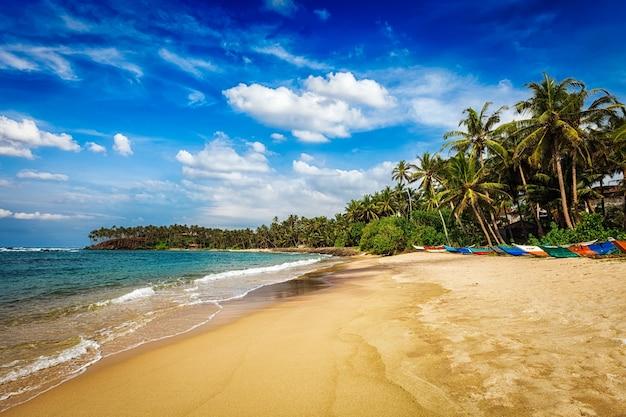 Тропический рай идиллический пляж мирисса шри-ланка