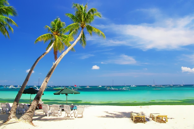 Tropical paradise island boracay in philippines, with white sand and turquoise sea